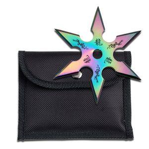 Single Rainbow Throwing Star Six-Point Chinese Dragon Symbol Ninja Knife