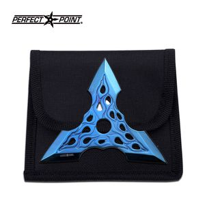 1-Pc. Blue Iridescent Traingular Flame Throwing Knife Set with Case