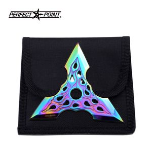 1-Pc. Rainbow Iridescent Traingular Flame Throwing Knife Set with Case