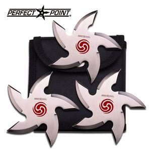 Three Piece Silver Cyclone Throwing Star Set Ninja Knife Thrower w/ Sheath