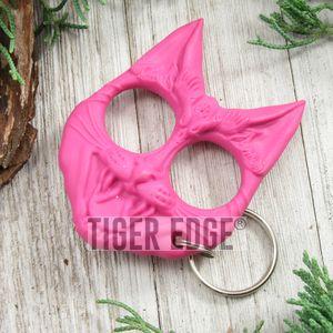Pink Cat Hard Nylon Fiber Knuckle Defense Keyring