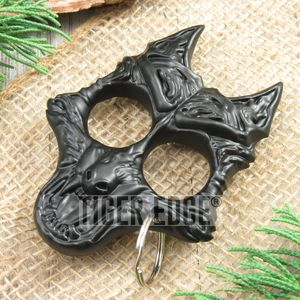 Black Guard Dog Hard Nylon Fiber Knuckle Defense Keyring
