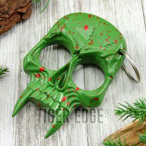 Green Zombie Skull Hard Nylon Fiber Knuckle Defense Keyring