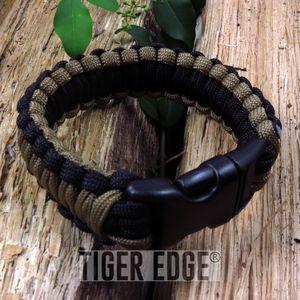 Black/Brown Paracord Survival Bracelet 300 lb., 7