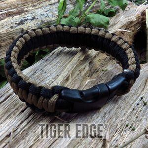 Black/Brown Paracord Survival Bracelet 300 lb., 9
