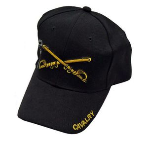 BASEBALL CAP | Black Yellow Cavalry Sword Saber Military - One Size Fits All