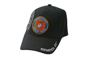 USMC Marines Semper Fi Black Baseball Hat Cap - One Size Fits All