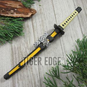Yellow Mini Japanese Samurai Sword Letter Opener Gift w/ Display Stand