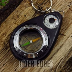 Compass/Thermometer Survival Keychain Keyring