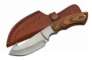 Gut Hook Blade Hunting Knife Rite Edge Full Tang Stainless Wood Skinner + Sheath