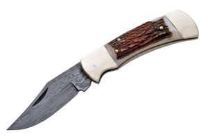 Folding Knife | Damascus Steel Blade Overall Stag Handle Classic Lockback