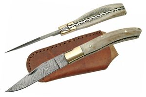 Genuine Damascus Steel & Stag Antler Handle Classic Trapper Folding Knife