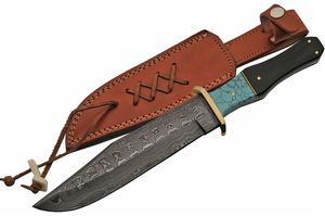 DAMASCUS STEEL BLADE BOWIE KNIFE | 12.5