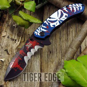 Dark Side Blades Blue Demon Spring Assisted Folding Knife Large Serration