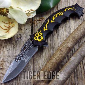 Dark Side Blades Fantasy Dragon Head Gold Flame Spring-Assist Folding Knife