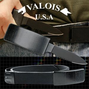 Classic Hidden Black Belt Buckle Knife With Adjustable Nylon Belt