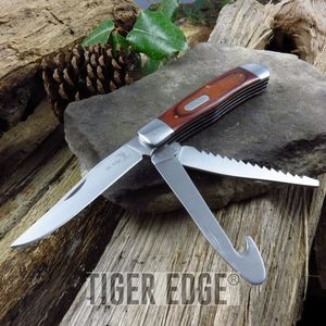 Elk Ridge Pakawood Multi-Tool Knife, Gut Hook, Saw