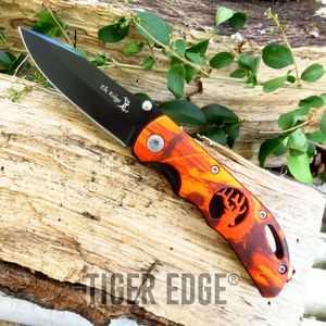 Elk Ridge Red Camo Cutout Handle Hunting Folding Pocket Knife