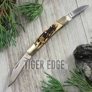 Elk Ridge Stag Bone Handle Hunter Trapper Folding Pen Pocket Knife