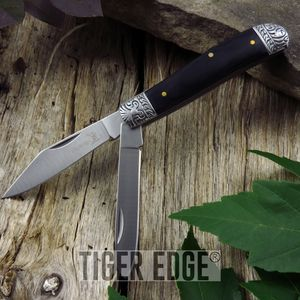 FOLDING POCKET KNIFE | Elk Ridge Black Wood Hunting Trapper 2 Blade ER-220GW