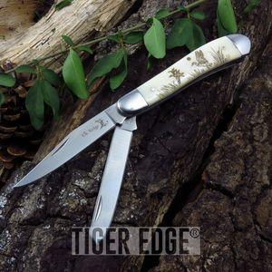 FOLDING POCKET KNIFE | Elk Ridge 2 Blade Ox Bone Duck Hunter