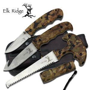 FIXED BLADE KNIFE SET Elk Ridge Hunting Outdoor Kit Flashlight Guthook ER-273CA