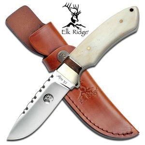 FIXED-BLADE HUNTING KNIFE Elk Ridge White Bone Handle Full Tang Skinner + Sheath