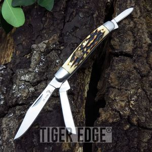 Elk Ridge Small 3-Blade Stag Bone Handle Trapper Folding Pocket Pen Knife