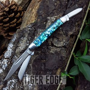 Elk Ridge 3-Blade Blue/Green Resin Handle Trapper Folding Pocket Pen Knife