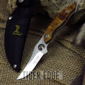 Elk Ridge Full Tang Mirror Blade Burl Wood Handle Fixed-Blade Hunting Knife