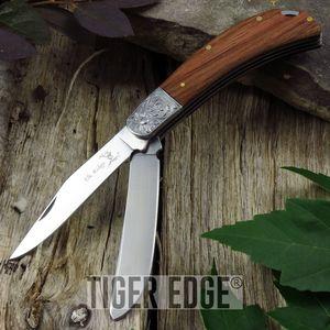 FOLDING POCKET KNIFE Elk Ridge Gentleman's Trapper Brown Double 2 Blade ER-552WD