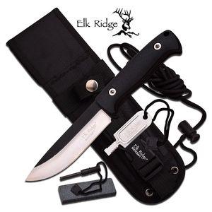 FIXED BLADE SURVIVAL KNIFE | Elk Ridge Black Fire Starter Sharpener Set ER-555BK