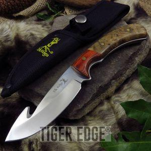 FIXED-BLADE HUNTING KNIFE Elk Ridge Gut Hook Full Tang Skinner Wood Mirror Blade