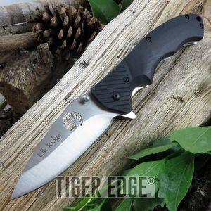 SPRING-ASSIST FOLDING POCKET KNIFE   Elk Ridge Black Wood Laser Cut Blade Hunter