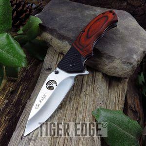 SPRING-ASSIST FOLDING POCKET KNIFE | Elk Ridge Brown Wood Laser Cut Blade Hunter