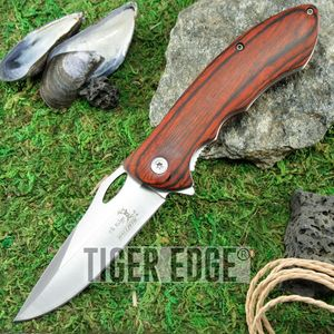 SPRING-ASSIST FOLDING POCKET KNIFE Elk Ridge Brown Wood Hunting Blade ER-A159SW