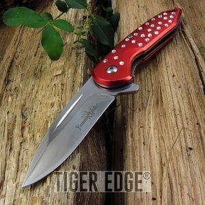 Femme Fatale Women Girl Red Spring Assisted Folding Knife w/ Rhinestones