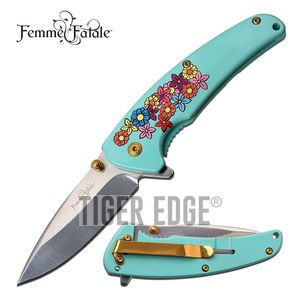 SPRING-ASSIST FOLDING KNIFE Femme Fatale Mirror Polish Blade Blue Flower A013PK