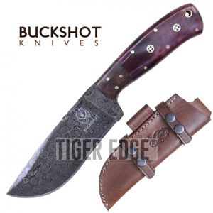 Damascus Steel Hunting Knife Buckshot Bone 9.75