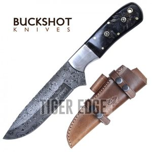 Damascus Steel Hunting Knife | Buckshot Black Bone 10
