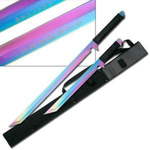 2 Piece Rainbow Tanto Ninja Full Tang Sword Set w/ Shoulder Sheath