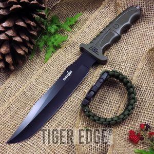 FIXED-BLADE SURVIVAL KNIFE Survivor Black Blade Green Serrated Paracord Bracelet