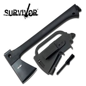 Survivor Black Tactical Survival Camp Hatchet Axe w/ Sheath, Fire Starter