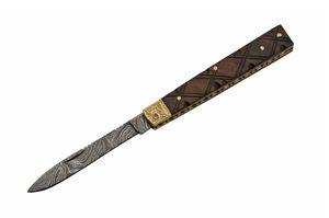 DOCTOR FOLDING KNIFE   Damascus Steel Blade Brown Wood Handle