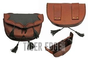 Medieval Belt Bag | Black Brown Real Leather Day Sporran Pouch