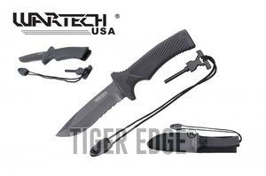 Survival Knife | Wartech Black Serrated Blade 10