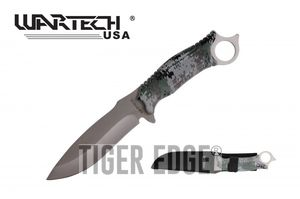 Tactical Knife | Wartech Fixed-Blade Silver Army Digital Camo Handle Survival