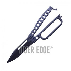 Butterfly Knife | Wartech Black Serrated Blade Knuckle Guard Balisong Trench