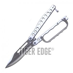 Butterfly Knife | Wartech Silver Serrated Blade Knuckle Guard Balisong Trench