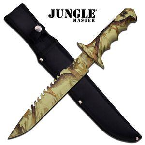 FIXED BLADE KNIFE Jungle Master Camo Tan Survival Hunting Sheath EDC JM-005CA